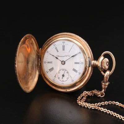 Claremont Watch Co. Gold Filled Hunting Case Pocket Watch with Chain Fob