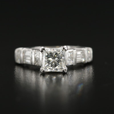 14K White Gold 1.42 CTW Diamond Ring