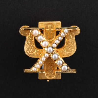 Vintage Psi Chi Psychology Honor Society Pin with Pearls
