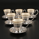 W.H. Saart Co.Sterling Silver Demitasse Set with Lenox Inserts