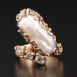 Vintage 14K Gold Pearl and Diamond Ring