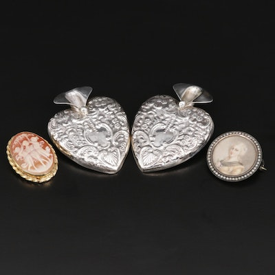 Vintage Brooches Featuring Hand Painted Portrait, Cameo and Posey Holders