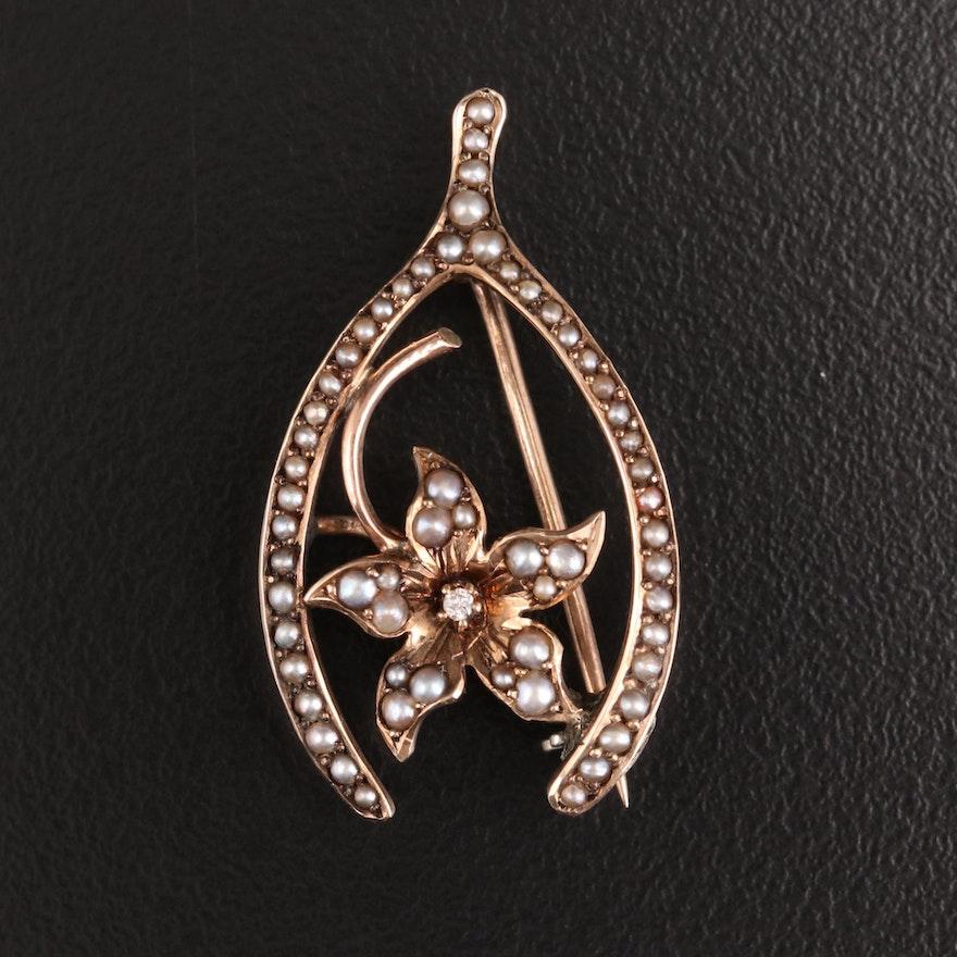 Art Nouveau 10K Gold Diamond and Pearl Wishbone Brooch