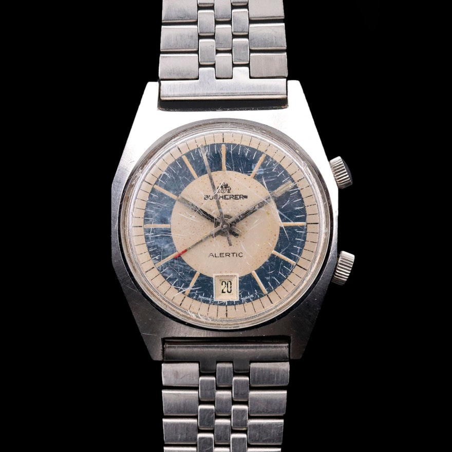 Vintage Bucherer Alertic Stainless Steel Stem Wind Wristwatch With Alarm