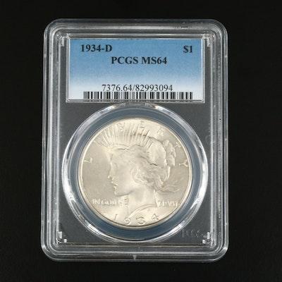 PCGS Graded MS64 1934-D Peace Silver Dollar