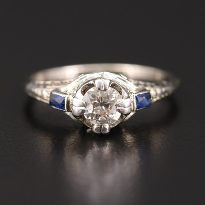 Art Deco 14K Gold Diamond and Synthetic Sapphire Ring with Foliate Engraving
