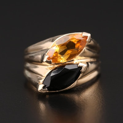 14K Yellow Gold Citrine and Black Onyx Marquise Ring