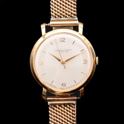 Vintage IWC 18K Yellow Gold Stem Wind Wristwatch