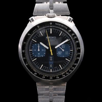 Vintage Seiko Bullhead Stainless Steel Automatic Chronograph Wristwatch