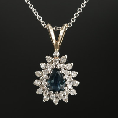 14K White and Yellow Gold Sapphire and Diamond Pendant Necklace