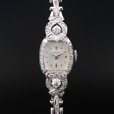 Hamilton White Gold and Diamonds Wristwatch