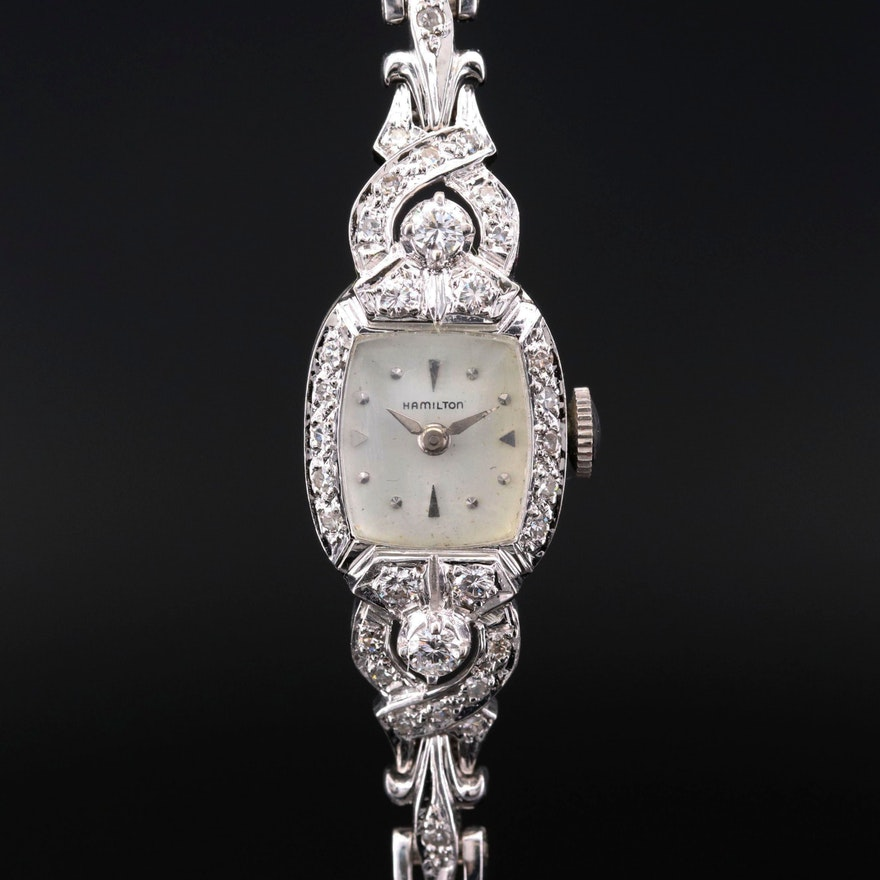 Hamilton White Gold and Diamonds Wristwatch
