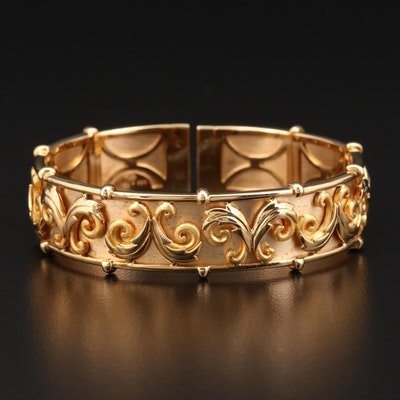 M.P. Jewellers 18K Gold Scroll Motif Bracelet with 24K Gold Accents