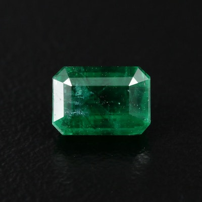 Loose 1.28 CT Cut Corner Rectangular Faceted Emerald