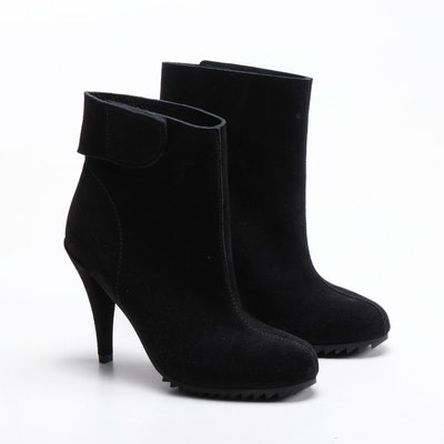 Pedro Garcia Black Suede Lugged Sole High Heel Ankle Boots
