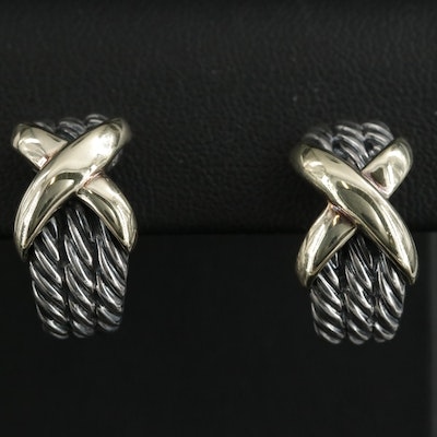 """David Yurman """"X Collection"""" Sterling Cable Earrings with 14K Yellow Gold Accents"""