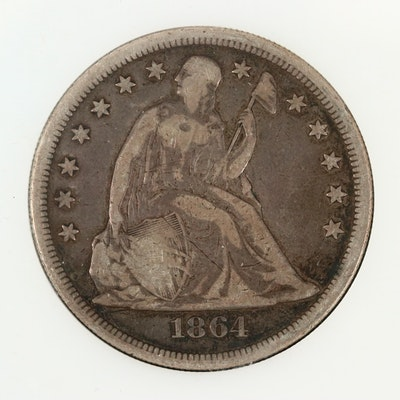 Low Mintage 1864 Liberty Seated Silver Dollar