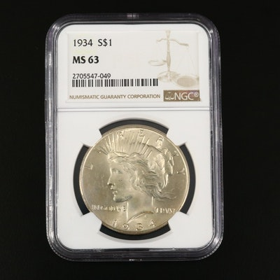 NGC Graded MS63 1934 Peace Silver Dollar