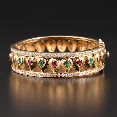 Mughal Style 18K Gold Emerald, Ruby and 2.64 CTW Diamond Hinged Bangle Bracelet