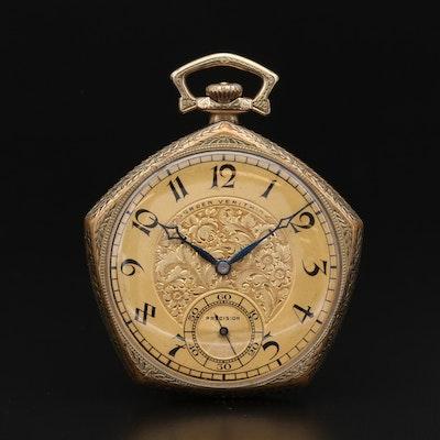 Gruen Veri Thin Pentagon Gold Filled Pocket Watch