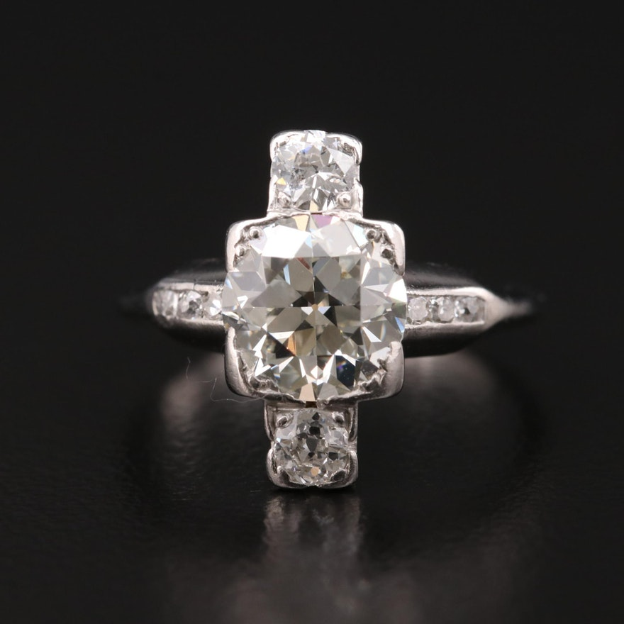 Art Deco Platinum 2.04 CTW Diamond Ring