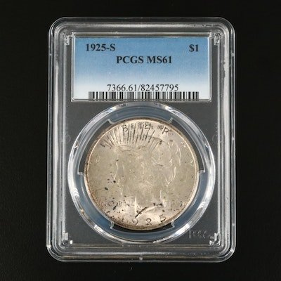 PCGS Graded MS61 1925-S Peace Silver Dollar
