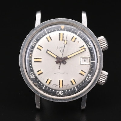 Vintage Elgin Super-Compressor Style Stainless Steel Automatic Watch