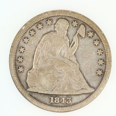 1843 Liberty Seated Silver Dollar