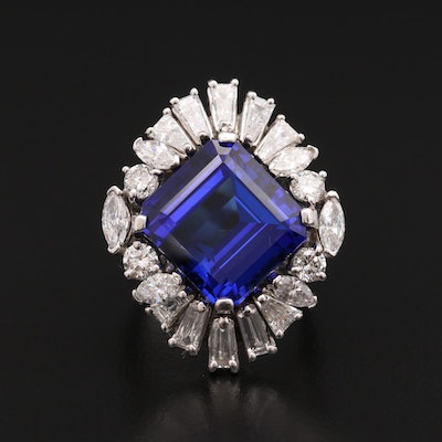 18K White Gold 13.03 CT Tanzanite and 1.57 CTW Diamond Ring