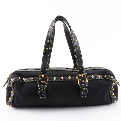 Fendi Studded Selleria Baguette in Black Canvas and Leather