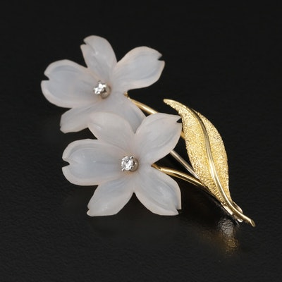 18K Gold Chalcedony and Diamond Flower Brooch