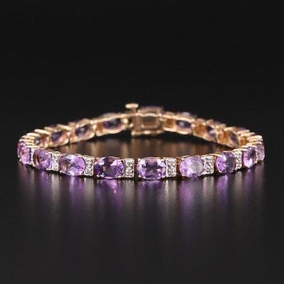 10K Yellow Gold Amethyst and Diamond Line Bracelet