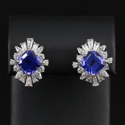 14K Gold 9.66 CTW Tanzanite and 3.80 CTW Diamond Earrings