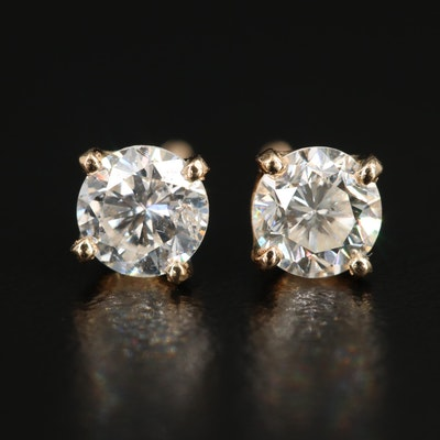 14K Yellow Gold 0.95 CTW Solitaire Earrings