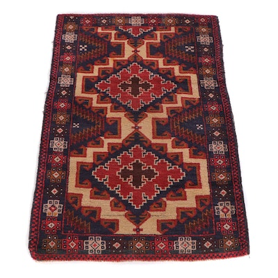 2'11 x 4'3 Hand-Knotted Afghan Baluch Tribal Wool Rug