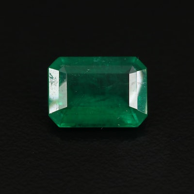Loose 2.98 CT Octagonal Step Cut Brazilian Emerald with GIA Report