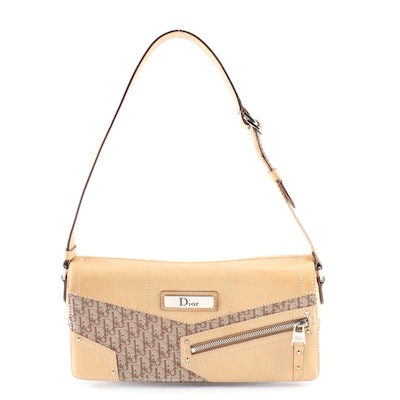 Christian Dior Brown Light Jacquard Fabric Oblique and Leather Shoulder Bag