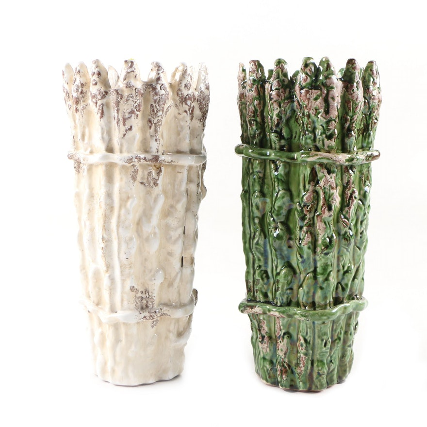 Green and White Glazed Ceramic Asparagus Vases