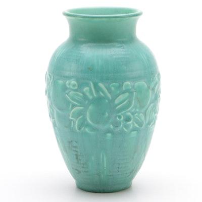 Rookwood Pottery Green Matte Glaze Vase with Fruit Motif, 1937