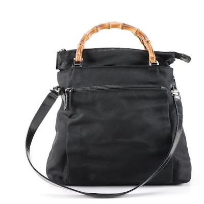 Gucci Bamboo Black Nylon and Leather Trimmed Two-Way Satchel