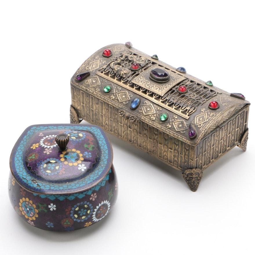 Japanese Cloisonné Enamel Box and Embellished Brass Jewel Casket