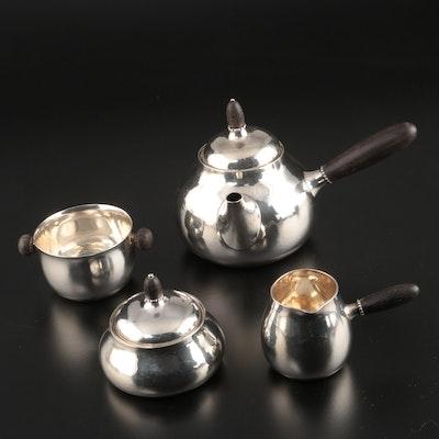 Georg Jensen Danish Modern Hammered Sterling and Ebony Tea Set, 1933