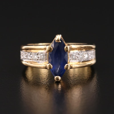 14K Yellow Gold Sapphire Marquise Ring with Diamond Shoulders