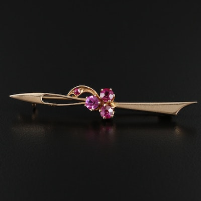 1950s Russian 14K Yellow Gold Synthetic Ruby Bar Brooch