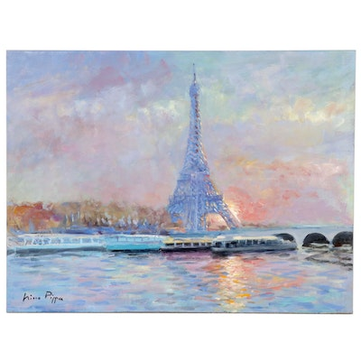 "Nino Pippa Oil Painting ""Paris Sunset - Eiffel Tower from Rive Droite"", 2012"