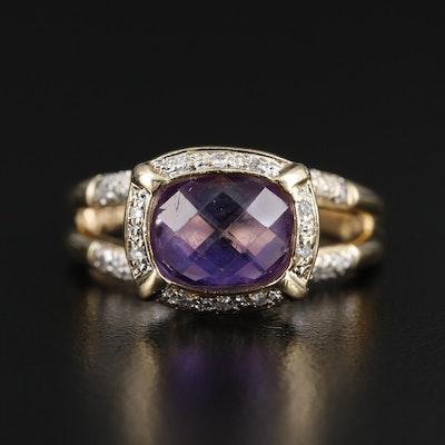 14K Gold Amethyst and Diamond Halo Ring