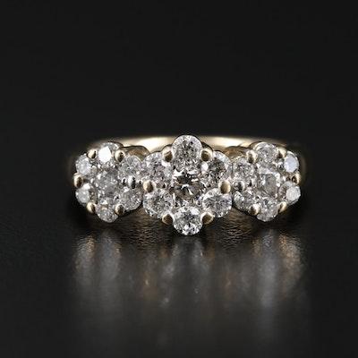 14K Yellow Gold Diamond Triple Flower Motif Cluster Ring