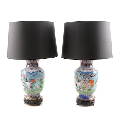 Converted Chinese Cloisonné Vase Lamps with Red-Crowned Crane and Floral Motif