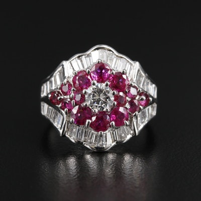 Vintage Platinum 1.45 CTW Diamond and Ruby Tapered Ring