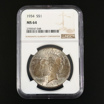 NGC Graded MS64 1934 Peace Silver Dollar